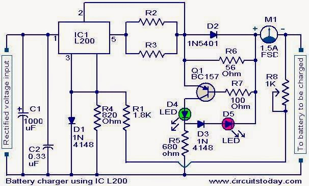 Electronics Projects Battery Charger Circuit Using L200