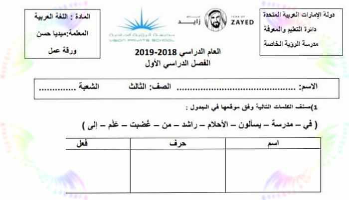 مذكرة مهارات لغة عربية للصف الثالث الفصل الاول - مدرسة الامارات