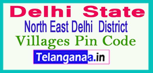 North East Delhi District Pin Codes in Delhi State