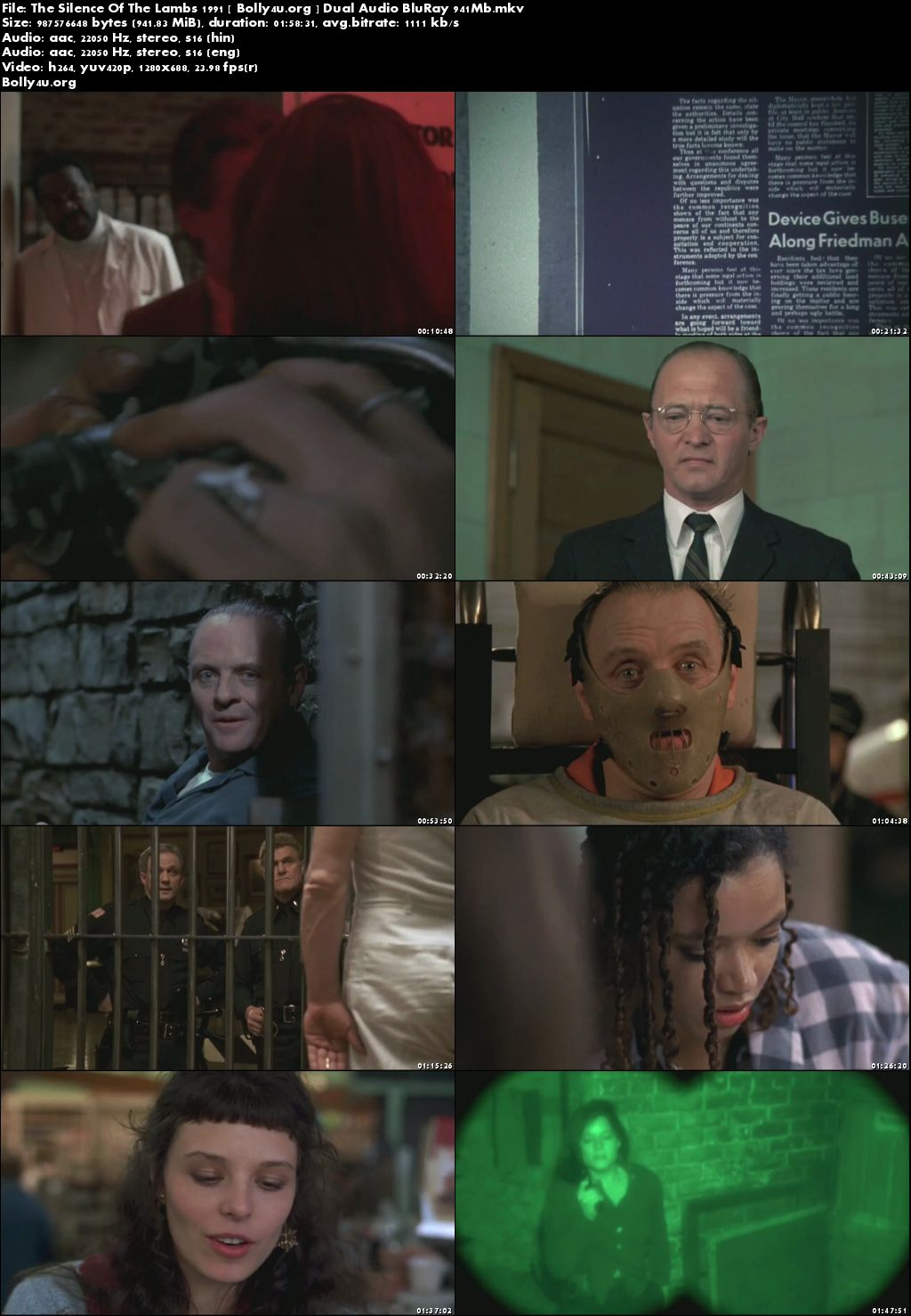 The Silence Of The Lambs 1991 BRRip 950MB Hindi Dual Audio 720p Download