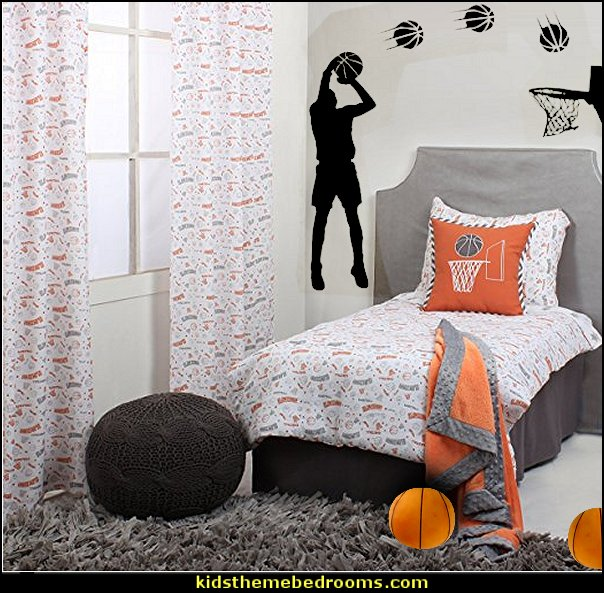 Basketball Players Shot Silhouette with Basketballs wall decal sticker