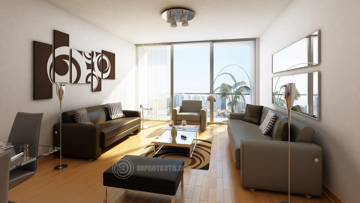 Vistas en 3d de sala comedor infograf a para arquitectura for Diseno de interiores lima