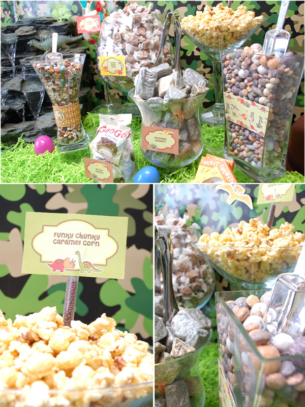 DIY Dinosaur Party Candy Buffet - via BirdsParty.com