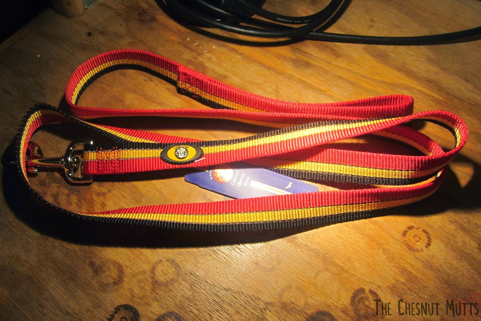 the hamilton reflective dog leash shown in regular light