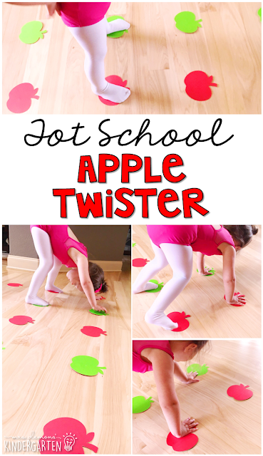 Learning is more fun when it involves movement! Work on color recognition, identifying body parts, and left/right with apple twister! Great activity for an apple theme in tot school, preschool, or even kindergarten