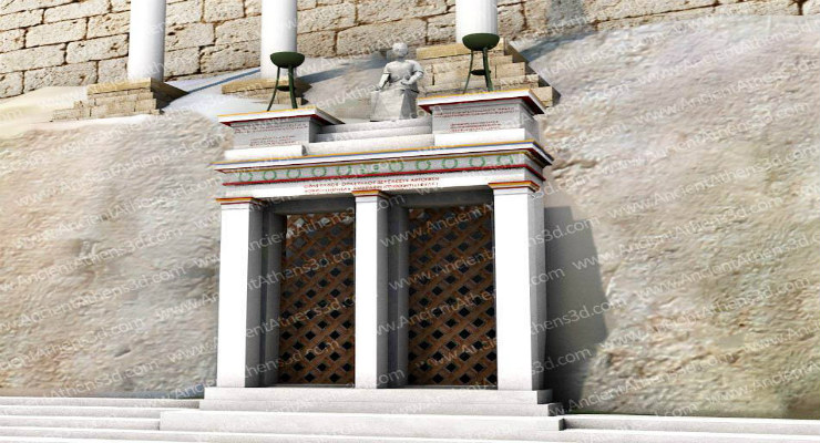 Αναπαράσταση του μνημείου του Θρασύλλου, Ακρόπολις Αθηνών