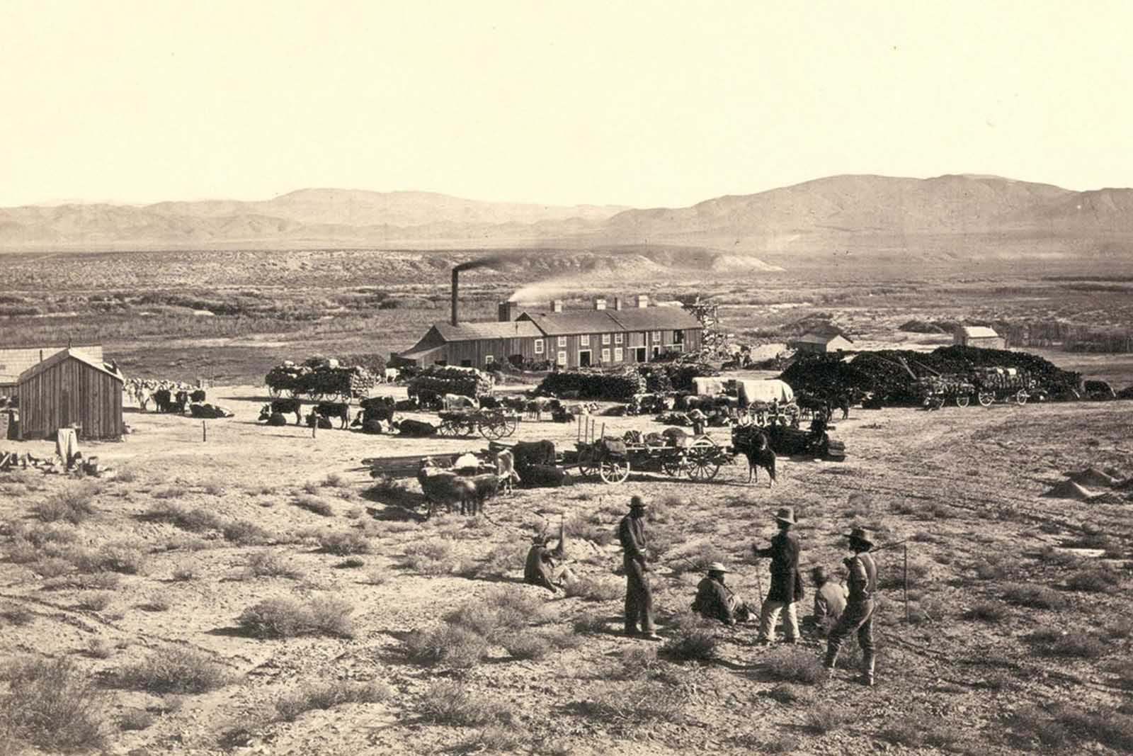 Members of Clarence King's Fortieth Parallel Survey team, near Oreana, Nevada, in 1867.
