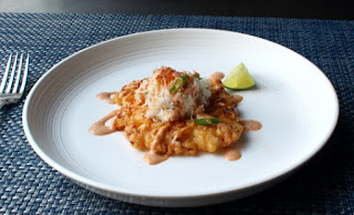 Crispy Fresh Corn Fritters with Crab and Chipotle Lime Dressing