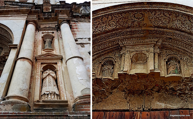 Detalhes da fachada barroca do Colégio dos Jesuítas de Antigua Guatemala
