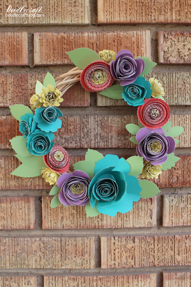 Doodlecraft Rolled Paper Flower Spring Wreath With Cricut Explore