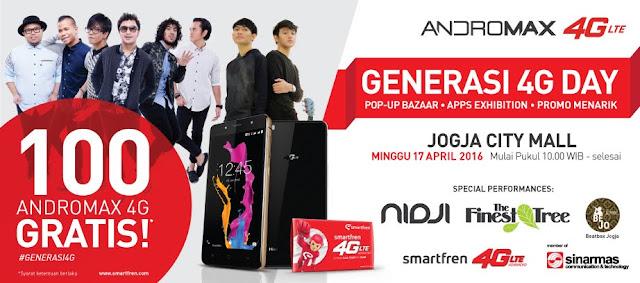 Smartfren Bagi-Bagi 100 Smartphone Andromax 4G LTE di Jogja City Mall Yogyakarta