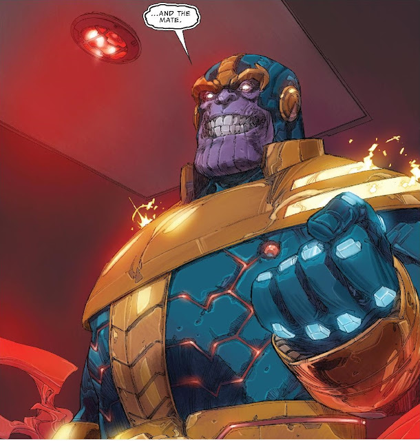 "Thanos viewed from below, clenching his fist and saying ""And the mate"""