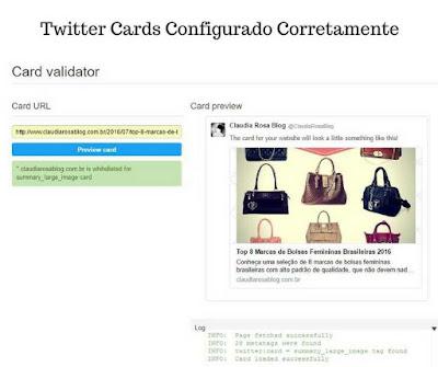 Twitter Cards Configurado Corretamente no Card Validator