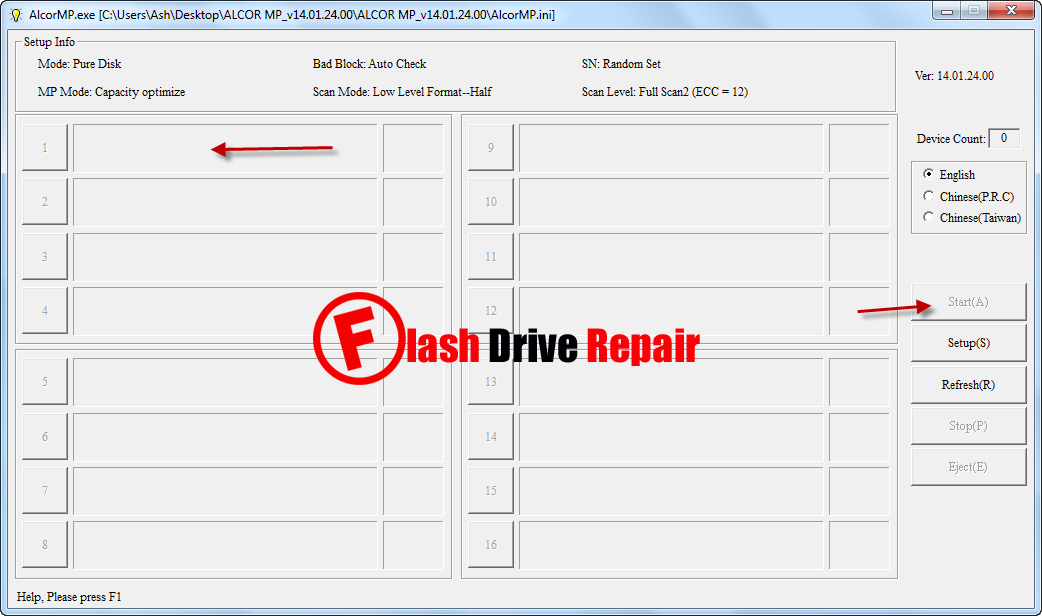 Download AlcorMP v14 to repair corrupted Alcor chip controller