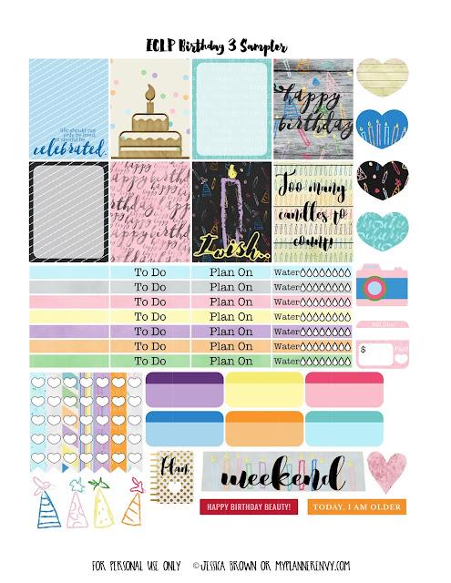 Birthday 3 Sampler for the Vertical Erin Condren Life Planner on myplannerenvy.com