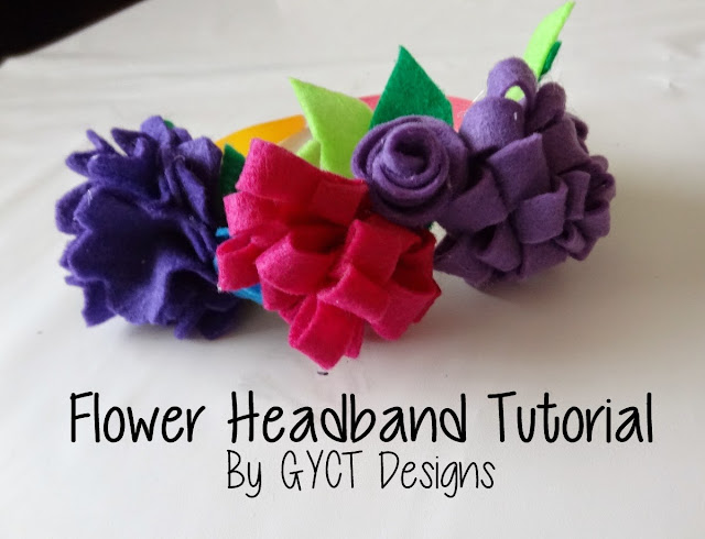 Colorful Felt flowers on a headband