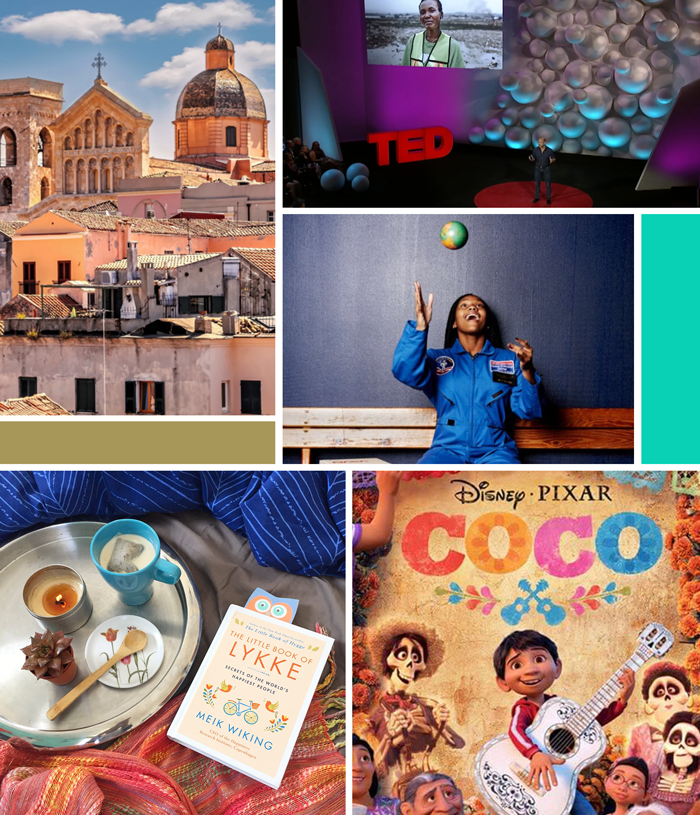 February favorites links, Coco, David Katz TED talk social ocean plastic, The Little Book of Lykke, Ollolai Sardinia Italy, Oscar