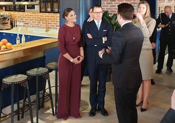 Crown Princess Victoria wore Andiata Kamille trousers and Kiana blouse. Vogt bag and Stinaa J boots. Oscar de la Renta earrings