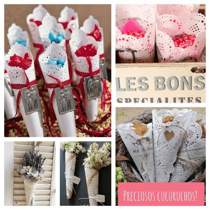 cucuruchos hechos con blondas de papel para decorar ceremonias