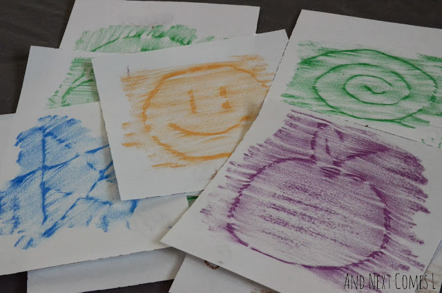 Crayon rubbing art using homemade rubbing cards from And Next Comes L