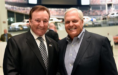 Richard Childress (left) and Rick Hendrick pose for a photo prior to the NASCAR Hall of Fame Class of 2017 Welcome Dinner. (Photo by Jared C. Tilton/Getty Images)