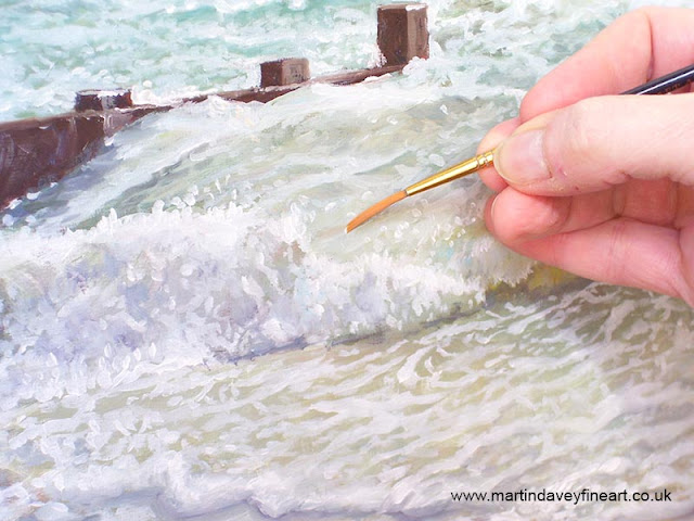painting WIP Martin davey ocean waves groin