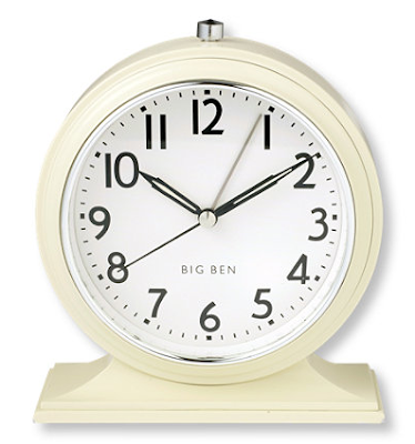Big Ben traditional-looking alarm clock, ivory