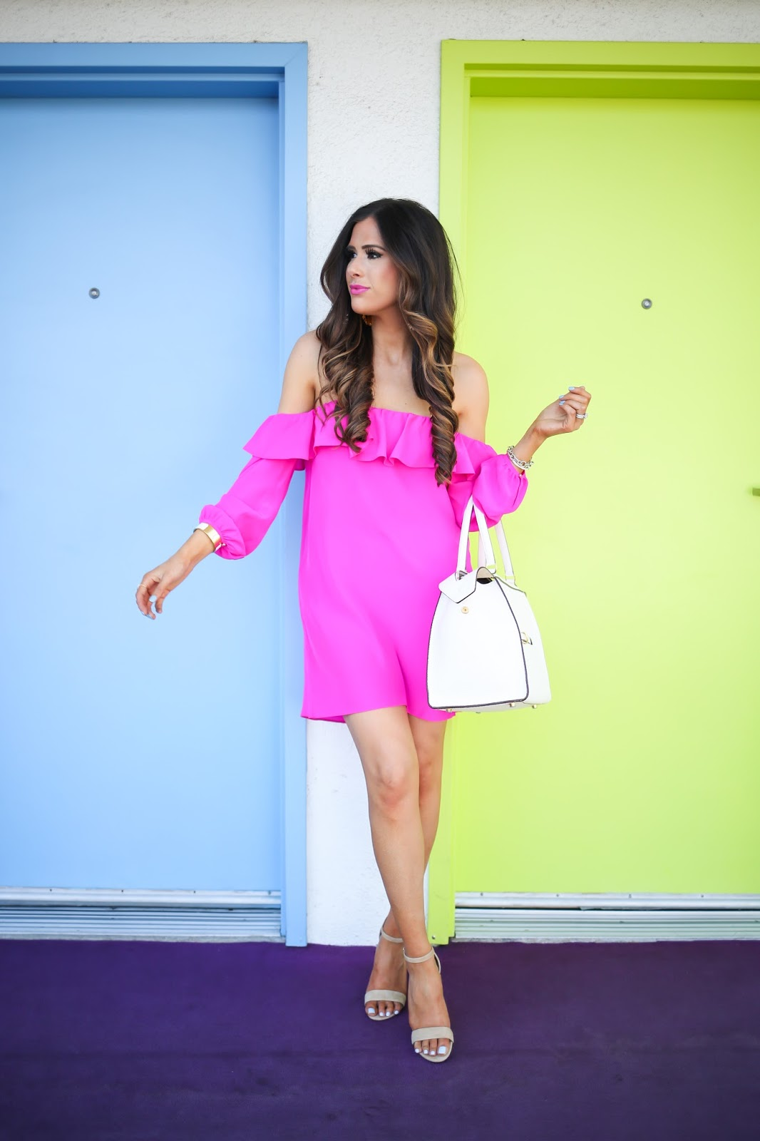 amanda uprichard dress joanna dress, amanda uprichard hot pink dress,steve madden carrsen sandal, spring fashion 2106, pinterest spring outfit ideas, easter dress ideas 2016, easter dresses 2016, easter dresses nordstrom 2016, pinterest hot pink dresses, pinterest vacation california outfits, david yurman chain link bracelet, brunette balayage hair, medium long layers haircut, medium haircut brunette balayage, how to curl hair with curling iron, hot pink dresses for spring, nordstorm pink dresses, emily gemma, celine ring bag white, elizabeth cole fringe earrings, the sweetest thing, the saguaro palm springs, white SNS powder nails, tulsa SNS powder