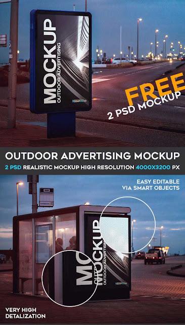 Outdoor Advertising – 2 Free PSD Mockups-موقع بلال ارت مصدرابداعك