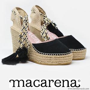 Queen Letizia wore Macarena suede espadrille wedges
