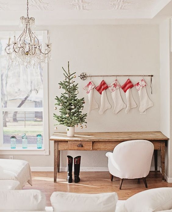 Stockings in romantic Farmhouse Christmas holiday decorating shabby chic