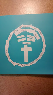 On a blue sheet of paper, a circle made of words cut from white paper and stuck down, with a cross in the centre