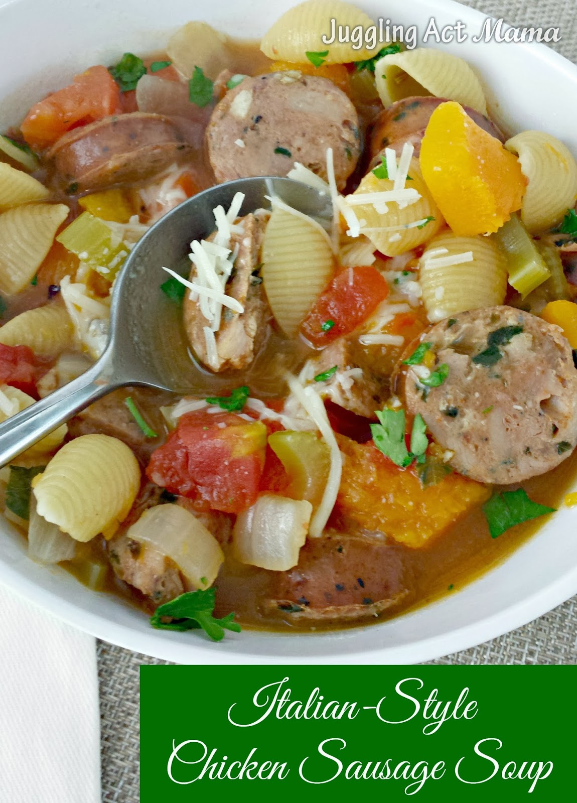 Italian Style Chicken Sausage Soup can be made in a flash on the stovetop, or can simmer away all day in slow cooker. Either way it's a hearty and delicious family meal!