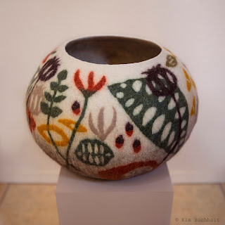 Large, wet-felted, round vessel by Kim Buchheit.