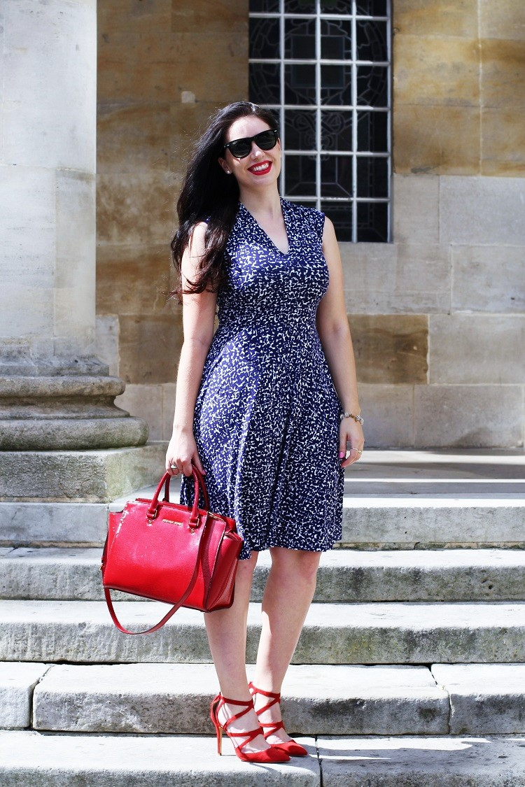 Emma Louise Layla in Joules gracie dress & Michael Kors red Selma bag - UK fashion blogger