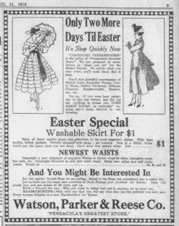 screengrab of ad for Easter clothes, from 1916 newspaper