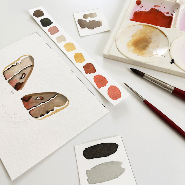 watercolor, painting, process, color swatches, color palette, moths, Anne Butera, My Giant Strawberry