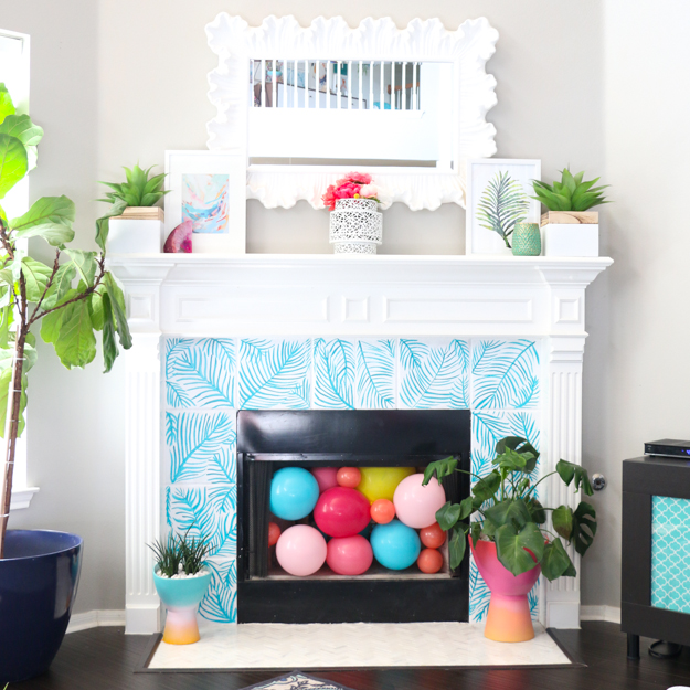 DIY It – Painted Palm Leaf Tile Fireplace Surround