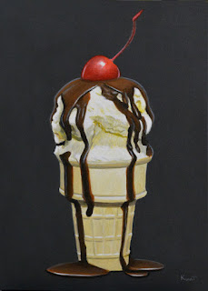 Small acrylic painting of vanilla ice cream cone with chocolate and a cherry