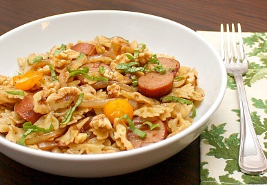 balsamic farfalle with sausage