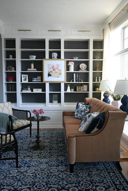 Ikea billy bookcase built in RUGS usa sherwin williams peppercorn ATG blush sofa