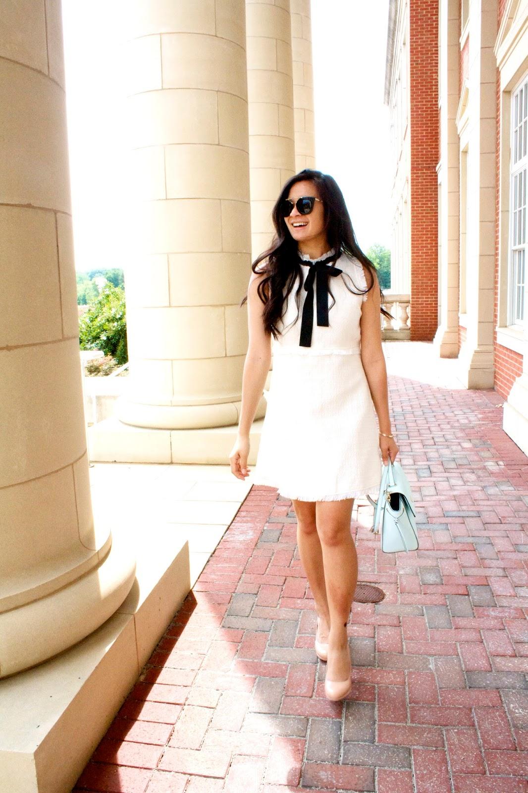 White tweed bow tie dress