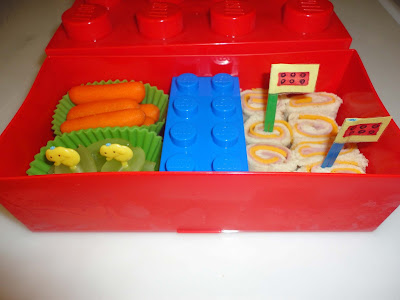 Lego box lunch with roll ups, bento school lunches
