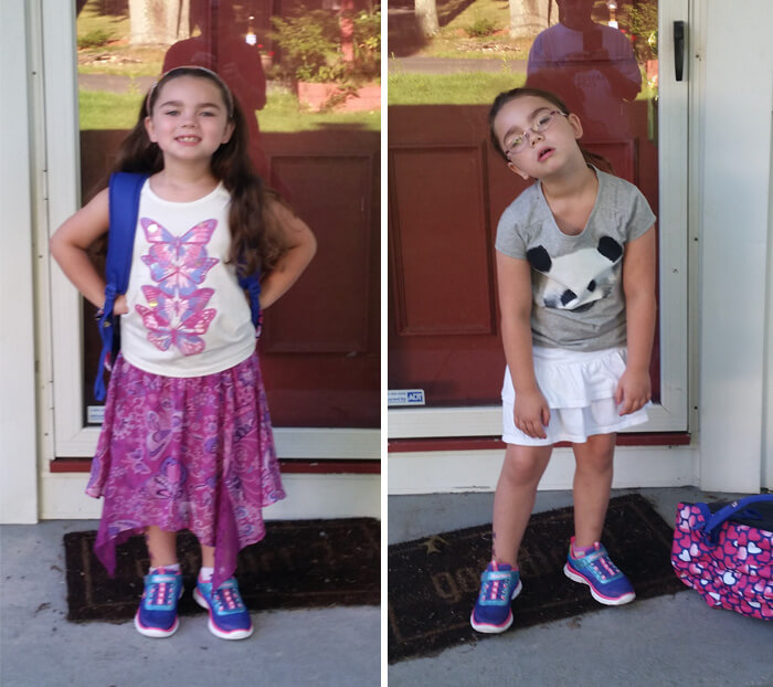 27 Hilariously Adorable Photos Of Children Before And After Their First Day Of School