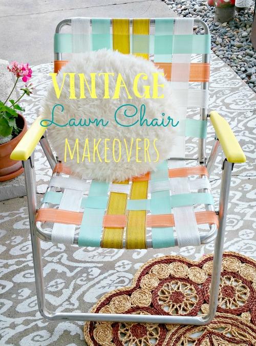 Vintage Lawn Chair Makeovers - Weekend Yard Work Series  sc 1 st  Little Vintage Cottage & Vintage Lawn Chair Makeovers - Weekend Yard Work Series - Little ...