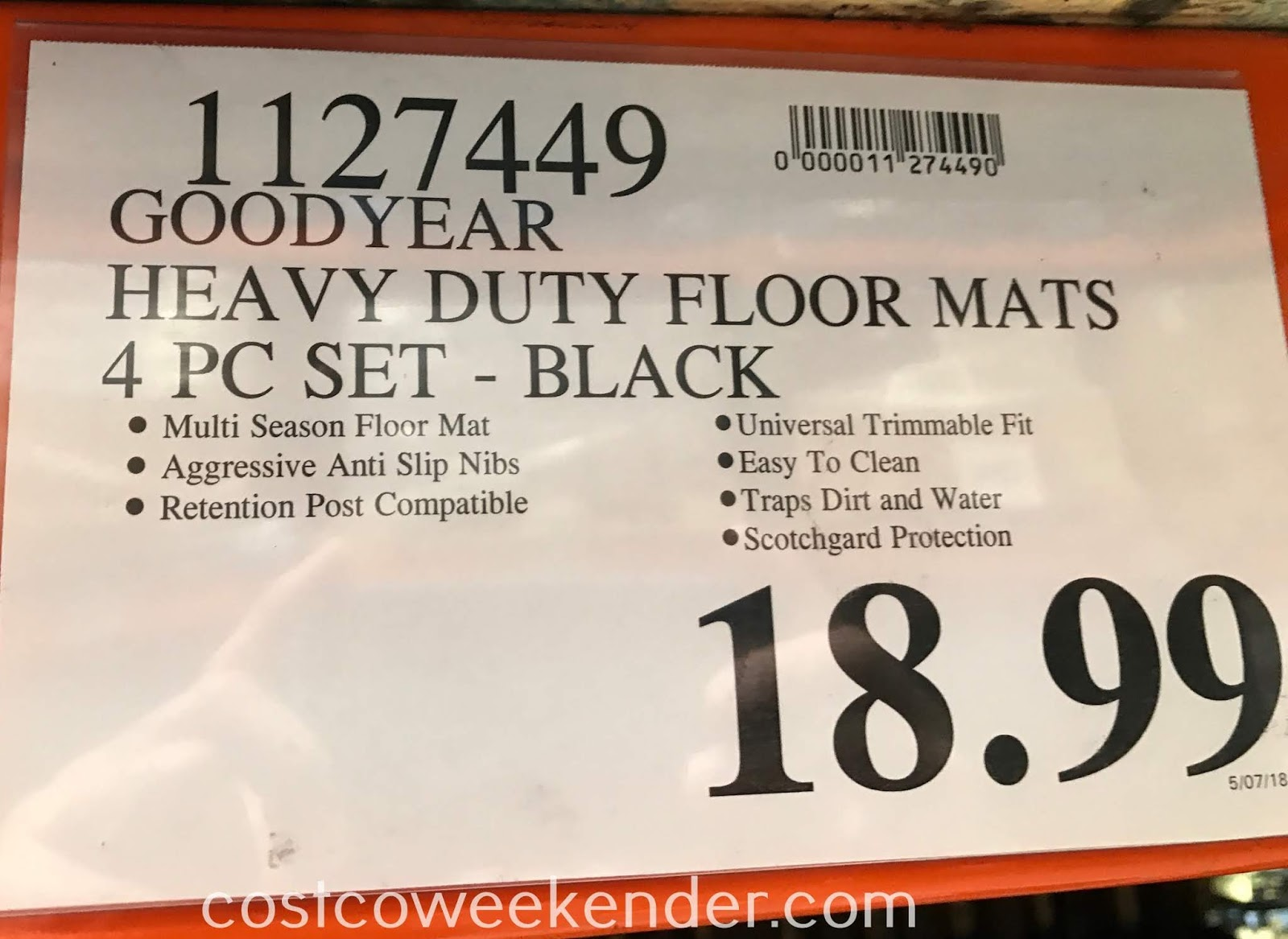 Deal for a set of 4 Goodyear All-weather Floor Mats at Costco