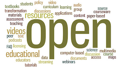 Word cloud related to open education with words like open, videos, resources, discussions, etc.