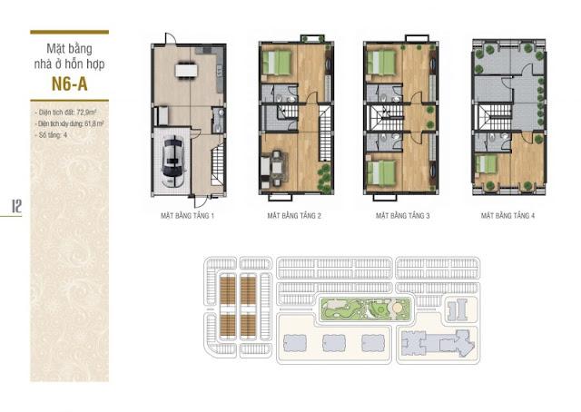 Thiết kế mặt bằng nhà ở hỗn hợp N6-A liền kề La Casta Văn Phú HiBrand
