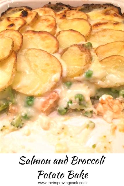 Salmon and Broccoli Potato Bake in a casserole dish