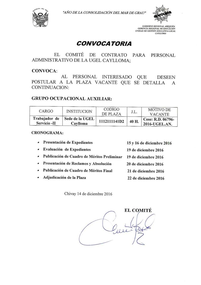Convocatoria para contrato de personal de servicio ii for Convocatoria para plazas docentes 2016